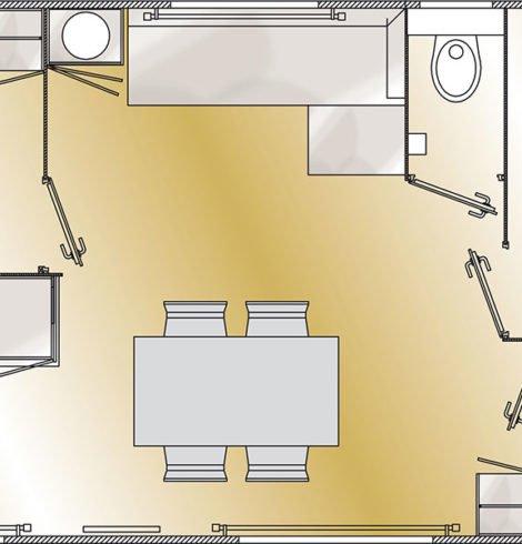 Plan du mobil-home confort 2 chambres