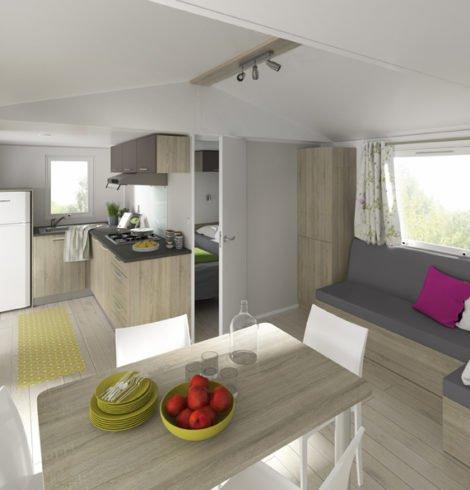 Séjour du mobil-home confort 2 chambres